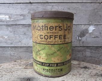 Vintage Tin Coffee Can Mothers Joy Philadelphia Green Aged Kitchen Metal Tin Antique Display Farm Retro Kitchen Rustic Primitive Vtg Old