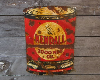 Porcelain Metal Sign Kendall Oil Company Gas Gasoline Sign Reproduction 1940s Style Vintage Look Distressed Antique Aged to look Old Rustic