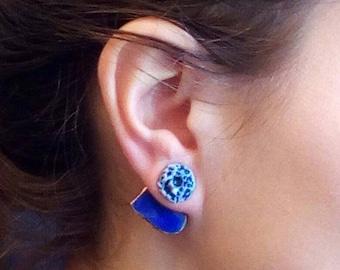 Porcelain earrings. Porcelain jewelry.Ear jacket earrings. Porcelain earrings with blue heart .