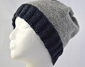 Warm Winter Hat, Unisex Winter Beanie, Wool Watch Cap for Teens and Adults, Boyfriend Hat, Gray, Charcoal