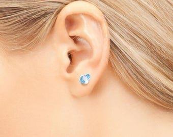 Sea Glass BLUE Modern Stud Earrings. 925 Sterling Silver Handmade by SEASTYLE