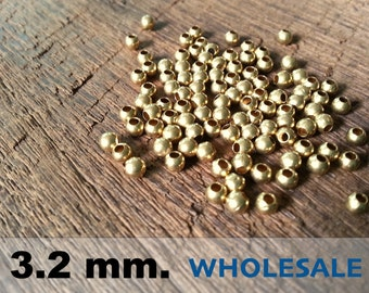 500 Pcs (3.2mm)  Brass Beads - Round -Brass Spacer-