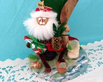 Hawaiian Christmas Ornament - Hawaiian  Santa - beach theme - sea glass - Hawaii St. Nick - palm tree - hostess gift - co-worker gift