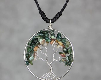 Agate tree of life branch wiring pendant necklace Free US Shipping handmade Anni Designs