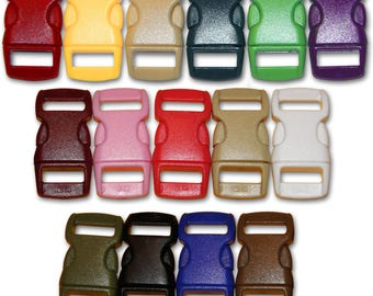 """Contoured side release 3/8"""" plastic Paracord Buckles - great for paracord bracelets, dog collars, etc."""
