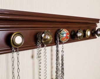 YOU CHOOSE  5, 7 or 9 KNOBS Brown wall jewelry holderwith colorful center knob closet organization  jewelry storage necklace organizer. gift