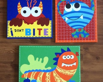 Handpainted  Lil Monster Canvas Art with Matching Quilt