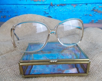 Vintage 80's Ladies Eyeglasses Frames, Vintage Eyeglasses with Large Rounded Shape Tan Plastic with Metal Temples