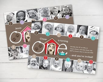 Puppy Timeline 1st Birthday Invitation (Girl or Boy) - Digital File