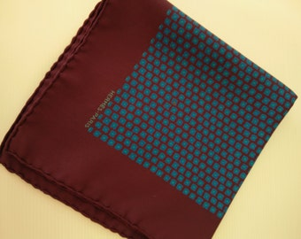 vintage silk HERMES pocket square, genuine hermes accessories, dark purple blue hermes haute couture, high fashion