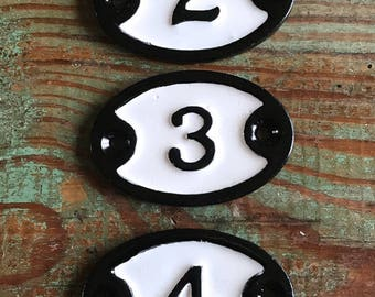 Black and White Enamel Numbers