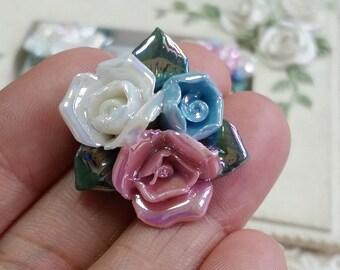 25 mm Two Holes and Flat Back Glazed flower Porcelain Roses  (s.t)