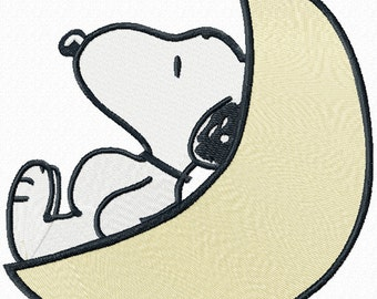 Snoopy on the Moon Embroidered Iron On Patch