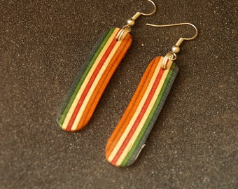 Recycled Skateboard Dangle Earrings - Unique Earrings - Dangle Earrings