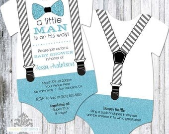 Little Man Baby Shower Invitation Boy | Bow Tie and Suspenders Baby Shower Invite | Printed Invitation | Baby Bodysuit