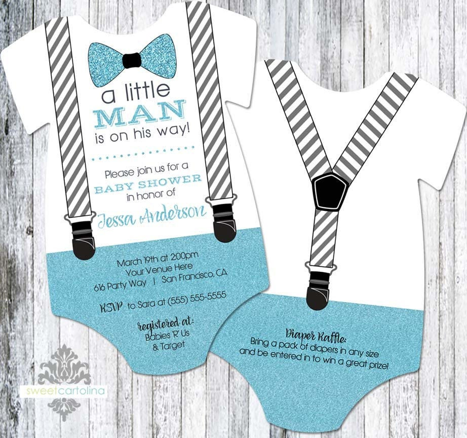 Little Man Baby Shower Invitation Boy   Bow Tie and Suspenders Baby ...