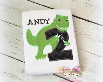 Dinosaur Birthday Shirt - Dinosaur Party - T-REX birthday shirt - boys dino shirt - custom embroidered birthday shirt - dino party