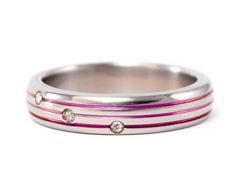 Women's polished titanium ring with pink anodized stripes with Swarovski's crystals. Valentine's Day. (00017_4S)