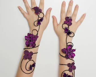 Black and purple goth arm cuffs