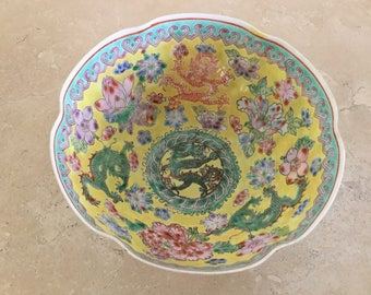 Vintage Chinese Famille Rose Eggshell Porcelain Dragon Bowl