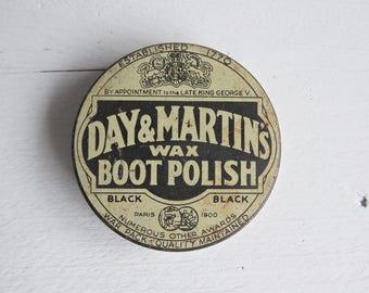 Vintage Day & Martin's Wax Boot Polish Tin - Day Martin's Tin - Old Small Tin - Vintage Tin - Photo Shoot - Film Prop - Diorama