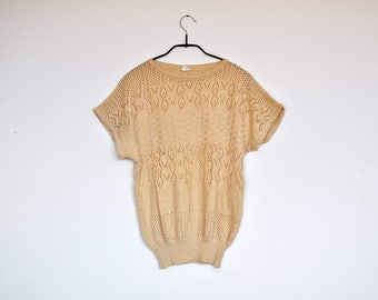 Vintage Beige See Through Knit Cap Sleeve Sweater Top