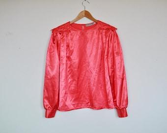 Vintage Shiny Pink Loose Oversized Top Long Sleeve Boxy Blouse