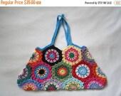 ON SALE - 10% OFF Crochet Granny Square art purse