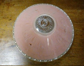 Vintge Ceiling Light Globe Fixture Pink Round Funnel Shaped 3 Chain