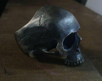 Half Skull Human Skull Ring - Sterling Silver