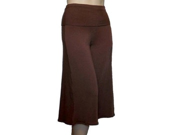 Plus Size Wide Leg Gauchos Pants-Cropped-Capris-Hand Dyed Organic Cotton/Bamboo Jersey-Made to Order-Choose Color-XL,2X,3X,4X,5X,6X,7X,8X