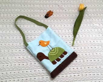 Toddler or child bag, appliqued turtle and bird, One of a kind, Upcycled, Handmade