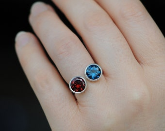 2 Stone Designer Ring - Red Garnet & Blue Topaz Ring - Double Stone Ring with Garnet and Blue Topaz - Owl ring - Made to Order