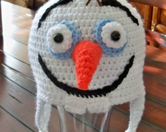 Crocheted White Olaf the Snowman Beanie