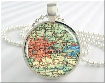 London Map Pendant, Resin Charm, London England Map Necklace, Picture Pendant Jewelry, Round Silver Pendant, Gift Under 20 (295RS)