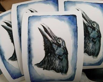 PRINT***** Raven watercolor