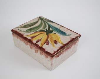 Vintage Clay Pottery Trinket Box - Italian Signed Pottery - Square Jewelry Box with Lid - Made in Italy