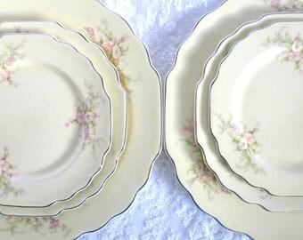 Vintage Plates, Dishes, USA, Canarytone, Lido, W.S George, Bridal Shower, Bridal Tea, Dessert Plates, Silver