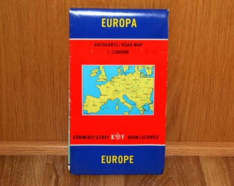 Europe Road Map - Europa Autokarte 1:2500000 - Kummerly & Frey - Vintage 1960's Fold-out Map