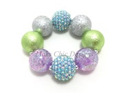 Toddler or Girls Purple, Blue, Silver and Lime Green Chunky Bracelet - Spring Chunky Bracelet - Girls Pastel Bracelet - Flower Girl Bracelet