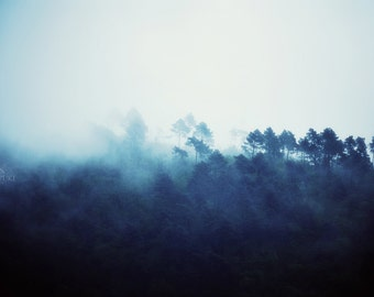 Moonlit Night, Photo, Fog in the Mountains, Fine Art Print, Surreal Landscape, Forest, Trees, Blue Print, Nature Photography, Magical, Zen