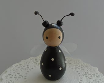 Hand Painted Wooden Bug Peg Doll