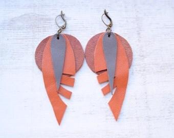 Orange Boho Leather Earrrings