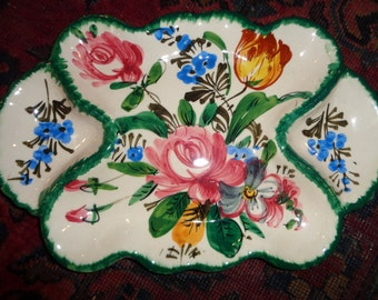 Vintage Hand Painted Relish Serving Dish, Made in Italy in Very Good Vintage Condition, Decorative and Functional Serving Piece