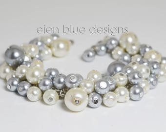 Ivory and Gray Cluster Bracelet, Gray & Pearl Cluster Bracelet, Ivory Pearl Bracelet, Gray Pearl Bracelet, Gray and Ivory Bridesmaid Jewelry