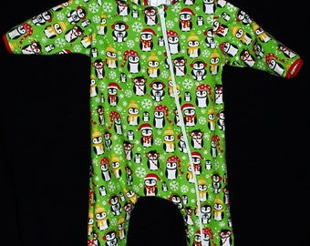 Baby & Toddler Hooded Sleeper Feet Pajamas Flannel Green with Penguins Size Large 12-15 Mos Hand Made