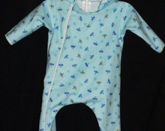 Baby & Toddler Hooded Sleeper Feet Pajamas Flannel Blue Dragonflies Pattern, Hooded, Feet, Zipper Size Small 6-9 Mos Hand Made