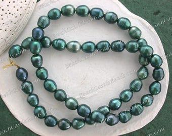 Sale Beads, Destash Beads, 7 to 8mm Teal Blue Fresh Water Pearl Beads, Rice Shape Fresh Water Pearls, Destash Supplies DS-854