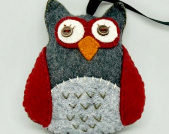 Felt Owl Ornament, Hanging Owl Ornament, Woodland Ornament, Plush Owl, Ohio State Colors,