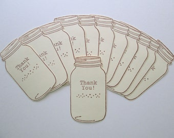 Thank you cards >> place cards, gift cards, gift tags, packaging, mason jars